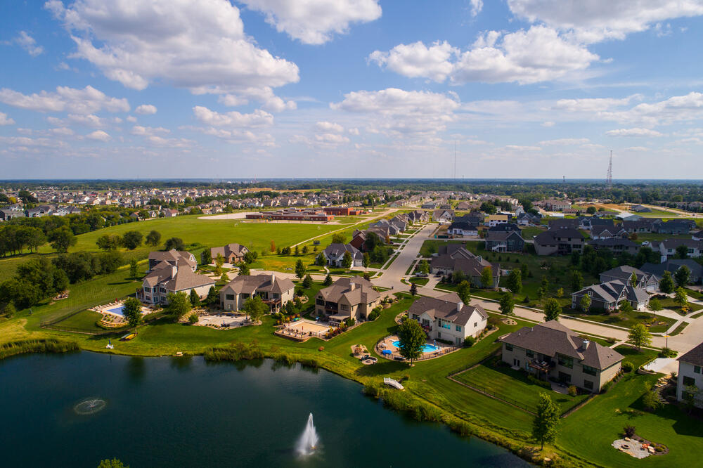 Arial of a master planned community neighborhood