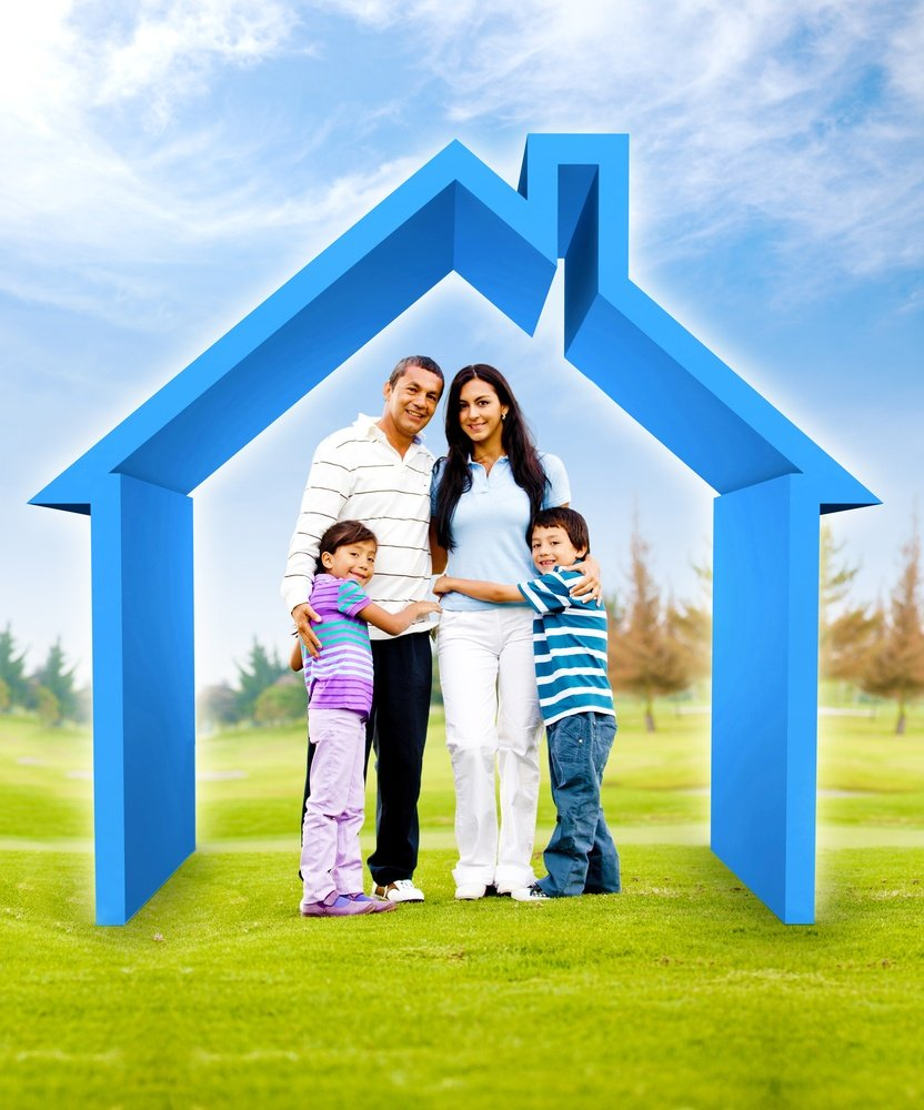 Family buying a house - 3D illustration a green field.jpeg